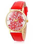 preiswerte T-Shirt-Damen Armbanduhr Armbanduhren für den Alltag / Cool / / Leder Band Blume / Retro / Freizeit Schwarz / Weiß / Blau
