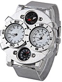 cheap Military Watches-Oulm Men's Military Watch Thermometer / Compass / Dual Time Zones Stainless Steel Band Silver / Two Years / SOXEY SR626SW