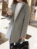 cheap Women's Coats & Trench Coats-Women's Work Going out Street chic Wool Coat - Solid Color V Neck