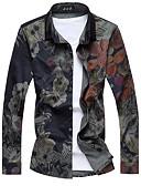 baratos Camisas Masculinas-Homens Camisa Social Floral Algodão Colarinho Clássico