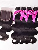 baratos Vestidos para as Mães dos Noivos-Cabelo Peruviano Onda de Corpo Cabelo Virgem Trama do cabelo com Encerramento Tramas de cabelo humano Venda imperdível Extensões de cabelo humano