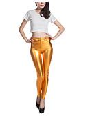 baratos Leggings para Mulheres-Feminino Sólido Média Poliéster PU Legging,Dourado