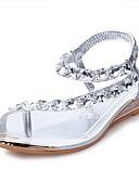 billige Smokings-Dame PU Sommer Komfort Sandaler Flat hæl Krystall Sølv / Gylden