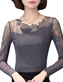 cheap Women's Tops-Women's Going out Plus Size Blouse - Patchwork Lace Trims / Spring / Fall
