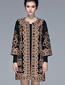 preiswerte Mantel & Trenchcoat-Damen-Blumen Geometrisch Retro Chinoiserie Mantel