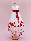 baratos Vestidos para Daminhas de Honra-Princesa Cauda Capela Vestido para Meninas das Flores - Cetim / Tule Sem Manga Decote V com Faixa / Fita / Flor / Pregas de LAN TING BRIDE®