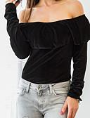 billige Overdele til damer-Bateau-hals Dame - Ensfarvet T-shirt Polyester