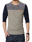 preiswerte Herren Polo Shirts-Herrn Patchwork Übergrössen Baumwolle T-shirt, Rundhalsausschnitt / Langarm