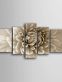 baratos Blusas Femininas-Estampados de Lonas Esticada Botânico 5 Painéis Vertical Estampado Decoração de Parede Decoração para casa