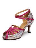 baratos Suporte para Lembrancinhas-Mulheres Sapatos de Dança Latina Couro Sandália Estampa Animal Salto Robusto Personalizável Sapatos de Dança Fúcsia / Interior
