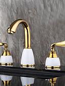 halpa Pikkuhousut-Nykyaikainen Moderni Kolmiosainen Laajallle ulottuva Keraaminen venttiili Kaksi kahvaa kolme reikää Ti-PVD, Kylpyhuone Sink hana