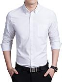 お買い得  メンズシャツ-男性用 プラスサイズ シャツ スリム ソリッド コットン
