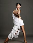 hesapli Latin Dans Giysileri-Latin Dansı Elbiseler Kadın's Performans Splandeks Püsküllü / Kristaller / Yapay Elmaslar Kolsuz Doğal Elbise