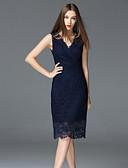 baratos Vestidos Femininos-Mulheres Para Noite Sofisticado Algodão Bainha Vestido - Renda, Sólido Decote V Cintura Alta Altura dos Joelhos / Verão