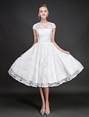 cheap Wedding Dresses-A-Line Jewel Neck Knee Length Lace Bridesmaid Dress with Sash / Ribbon by LAN TING BRIDE®