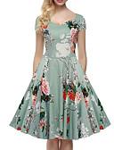 cheap Women's Dresses-Women's Beach Vintage / Street chic Cotton Swing Dress - Floral Pleated High Rise V Neck