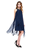 olcso Örömanya ruhák-Szűk szabású Ékszer Aszimmetrikus Sifon Örömanya ruha val vel Gyöngydíszítés által LAN TING BRIDE®