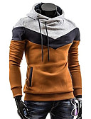 cheap Men's Hoodies & Sweatshirts-Men's Plus Size Sports Active Long Sleeve Slim Hoodie - Color Block Turtleneck Gray XL / Spring / Fall / Winter