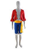 זול הינומות חתונה-קיבל השראה מ One Piece קוספליי אנימה תחפושות קוספליי חליפות קוספליי אחיד מעיל / חגורה / מכנסיים קצרים עבור בגדי ריקוד גברים תחפושות ליל כל הקדושים