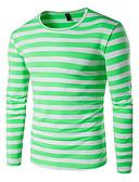 baratos Camisetas & Regatas Masculinas-Homens Tamanhos Grandes Camiseta - Esportes Activo Listrado Algodão Decote Redondo / Manga Longa