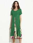 baratos Vestidos de Mulher-Mulheres Temática Asiática Algodão / Linho Solto Vestido Floral Médio / Verão / Padrões florais
