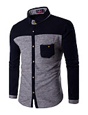 cheap Men's Shirts-Men's Plus Size Cotton Slim Shirt - Color Block Classic Collar / Long Sleeve