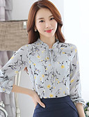 baratos Camisas Femininas-Mulheres Camisa Social Estampado Raiom Poliéster Colarinho Chinês
