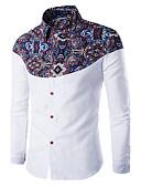 abordables Camisas de Hombre-Hombre Simple Casual/Diario Primavera / Otoño Camisa,Cuello Camisero Un Color Manga Larga Algodón / Otro Rojo / Blanco / Negro Medio