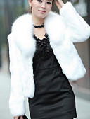 cheap Women's Fur & Faux Fur Coats-Women's Causal / Holiday Chic & Modern Winter Short Fur Coat, Solid Colored Shawl Lapel Long Sleeve Faux Fur Modern Style White / Black L / XL / XXL