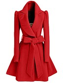 cheap Women's Trench Coat-Women's Vintage Coat-Solid Colored V Neck