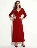 hesapli Kadın Elbiseleri-Kadın's Büyük Bedenler Boho Pamuklu Kılıf Elbise - Solid, Büzgülü Derin V Maksi / Sonbahar