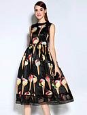 abordables Vestidos de Mujeres-Mujer Vintage Algodón Vaina Vestido - Estampado, Varios Colores Midi