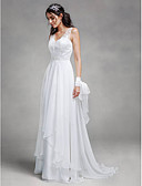 cheap Wedding Dresses-A-Line V Neck Sweep / Brush Train Chiffon / Lace Made-To-Measure Wedding Dresses with Lace by LAN TING BRIDE®