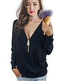 abordables Corsés-Mujer Tallas Grandes Camiseta, Escote en Pico Un Color Algodón