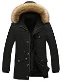 お買い得  メンズジャケット&コート-男性用 コート フード付き ソリッド