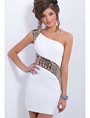 cheap Women's Dresses-Women's Club Bodycon Sheath Dress - Solid Colored White, Lace Mini One Shoulder