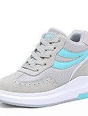 abordables Panties-Mujer Zapatos Tul Primavera / Otoño Creepers Zapatillas de Atletismo Paseo Tacón Cuña Dedo redondo Con Cordón Café / Rojo / Azul