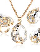 halpa Tyttöjen vaatteet-Naisten Kristalli / Synteettinen Sapphire / Synteettinen Emerald Korusetti - Kristalli, Tekojalokivi, Gold Plated Sisältää Sormukset asetettu Vihreä / Sininen / Valkoinen / valkoinen Käyttötarkoitus