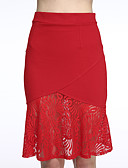 cheap Women's Skirts-Women's Street chic Plus Size Trumpet/Mermaid Skirts - Solid Colored, Lace