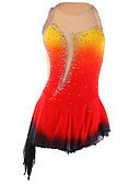 cheap Ice Skating Dresses , Pants & Jackets-Figure Skating Dress Women's / Girls' Ice Skating Dress Orange Halo Dyeing Asymmetric Hem Spandex Competition Skating Wear Handmade Fashion Sleeveless Ice Skating / Figure Skating