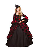 cheap Historical & Vintage Costumes-Rococo / Victorian Costume Women's Dress / Party Costume / Masquerade Red Vintage Cosplay Lace / Cotton Long Sleeve Poet Sleeve Floor Length / Long Length / Floral