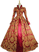 cheap Petticoats-Queen Elizabeth Vintage Rococo Victorian Costume Women's Dress Party Costume Masquerade Ball Gown Red Vintage Cosplay Lace Satin Party Prom Long Sleeve Poet Sleeve Long Length Ball Gown Plus Size