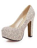 hesapli Gelin Şalları-Kadın's Ayakkabı Parıltılı Bahar / Yaz Topuklular Kalın Topuk Yuvarlak Uçlu Düğün / Parti ve Gece / Ofis ve Kariyer için Payet Altın / Beyaz / Mavi