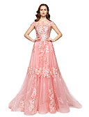 baratos Vestidos de Noite-Linha A / Princesa Ilusão Decote Longo Renda / Organza Estilo Celebridade Evento Formal Vestido com Renda / Pregas de TS Couture®