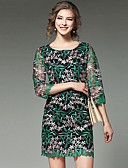 levne Dámské šaty-Dámské Šik ven Jdeme ven Shift Šaty Výšivka,Tříčtvrteční rukáv Kulatý Nad kolena Zelená Polyester Jaro Mid Rise Lehce elastické Střední