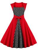 abordables Vestidos de Talla Grande-Mujer Tallas Grandes Noche Vintage Algodón Línea A Vestido A Lunares Tiro Alto Hasta la Rodilla Escote Cuadrado Rojo