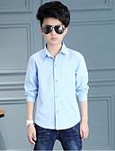 voordelige Ringdragerkostuums-Dagelijks Effen Katoen Rayon Lente Lange mouw Jongens Overhemd Wit Lichtblauw