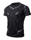 cheap Men's Tees & Tank Tops-Men's Sports Active / Punk & Gothic Cotton Slim T-shirt - Geometric Print Round Neck / Short Sleeve