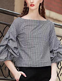 baratos Blusas Femininas-Mulheres Blusa - Para Noite Feriado Quadriculada Algodão Decote Canoa