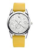 abordables Relojes de Moda-V6 Mujer Reloj de Pulsera Resistente al Agua / / PU Banda Flor / Casual / Moda Negro / Marrón / Dos año / Mitsubishi LR626
